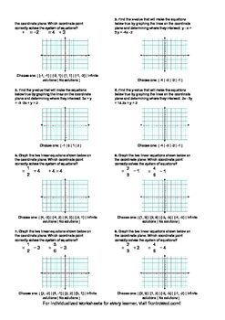 Worksheet for 8.EE.8B-2.0 - Solve systems of two linear equations in two variabl