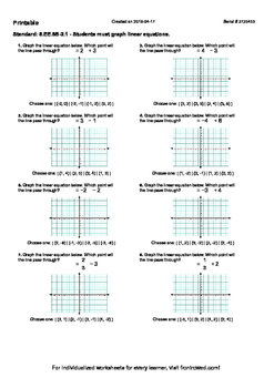 Worksheet for 8.EE.8B-2.1 - Students must graph linear equations.