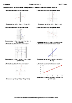 Worksheet for 8.EE.8C-1.1 - Derive the equation y = mx for a line through the or