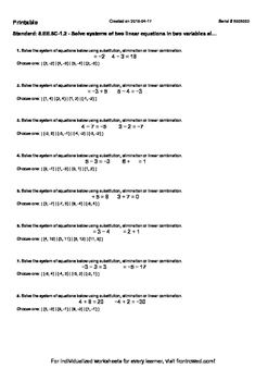 Worksheet for 8.EE.8C-1.2 - Solve systems of two linear equations in two variabl