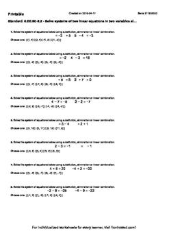 Worksheet for 8.EE.8C-2.2 - Solve systems of two linear equations in two variabl