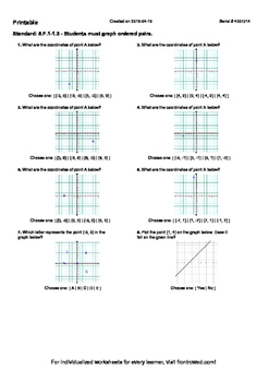 Worksheet for 8.F.1-1.3 - Students must graph ordered pairs.