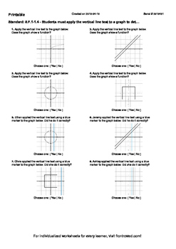 Worksheet for 8.F.1-1.4 - Students must apply the vertical line test to a graph