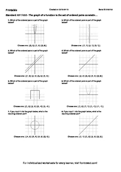 Worksheet for 8.F.1-2.0 - The graph of a function is the set of ordered pairs co