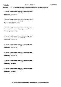 Worksheet for 8.F.2-1.3 - Students must plug in an x-value into an equation to g
