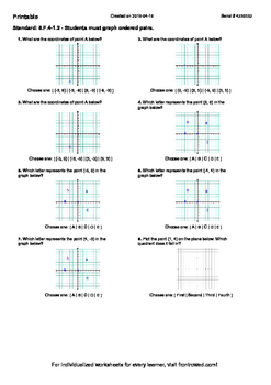 Worksheet for 8.F.4-1.2 - Students must graph ordered pairs.