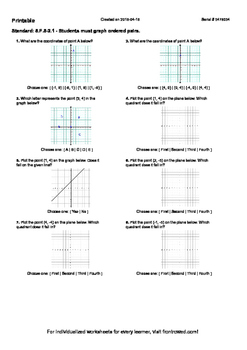 Worksheet for 8.F.5-2.1 - Students must graph ordered pairs.
