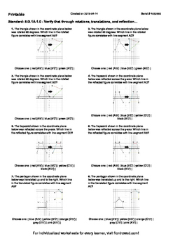 Worksheet for 8.G.1A-1.0 - Verify that through rotations, translations, and refl