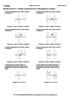 Worksheet for 8.G.1A-1.1 - Identify a transformed line or lines segment as a rot