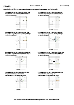 Worksheet for 8.G.1A-1.2 - Identify and determine rotated, translated, and refle