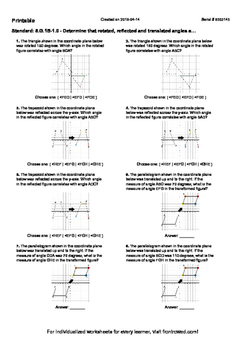 Worksheet for 8.G.1B-1.0 - Determine that rotated, reflected and translated angl