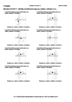 Worksheet for 8.G.1B-1.1 - Identify a transformed angle as a rotation, reflectio