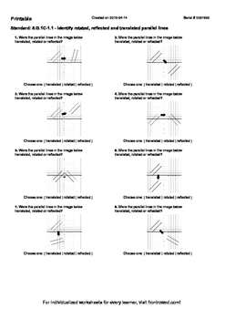 Worksheet for 8.G.1C-1.1 - Identify rotated, reflected and translated parallel l