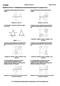 Worksheet for 8.G.2-1.0 - Understand that a two-dimensional figure is congruent