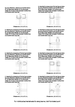 Worksheet for 8.G.2-1.2 - Students must describe the congruency of two figures b