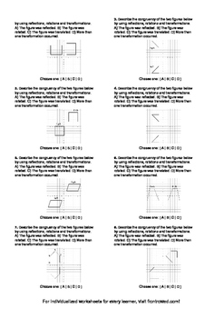 Worksheet for 8.G.2-2.2 - Students must describe the congruency of two figures b