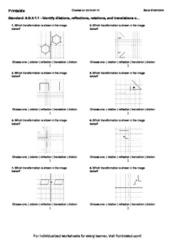 Worksheet for 8.G.3-1.1 - Identify dilations, reflections, rotations, and transl
