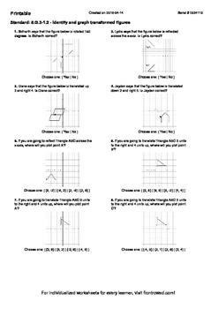 Worksheet for 8.G.3-1.2 - Identify and graph transformed figures