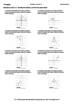 Worksheet for 8.G.3-1.3 - Identify the dilation and find i
