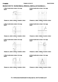 Worksheet for 8.G.4-1.2 - Identify dilations, reflections, rotations, and transl