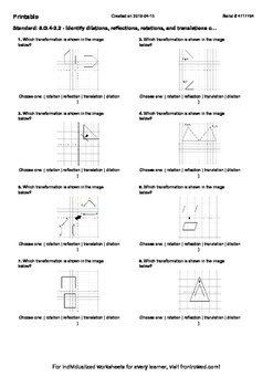 Worksheet for 8.G.4-2.2 - Identify dilations, reflections, rotations, and transl