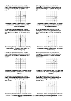 Worksheet for 8.G.4-2.3 - Describe the sequence of transformations between two s