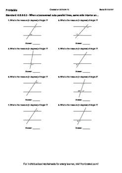 Worksheet for 8.G.5-2.3 - When a transversal cuts parallel
