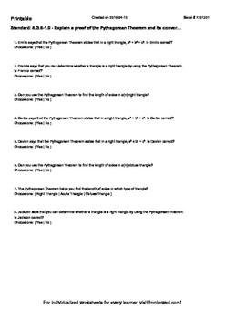 Worksheet for 8.G.6-1.0 - Explain a proof of the Pythagorean Theorem and its con