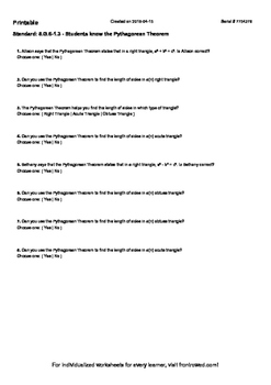 Worksheet for 8.G.6-1.3 - Students know the Pythagorean Theorem