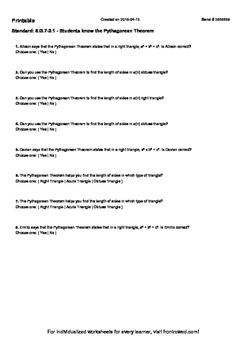 Worksheet for 8.G.7-2.1 - Students know the Pythagorean Theorem