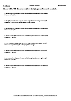 Worksheet for 8.G.7-2.2 - Students must know the Pythagore
