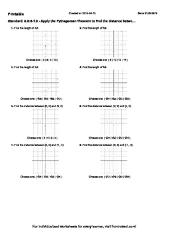 Worksheet for 8.G.8-1.0 - Apply the Pythagorean Theorem to find the distance bet