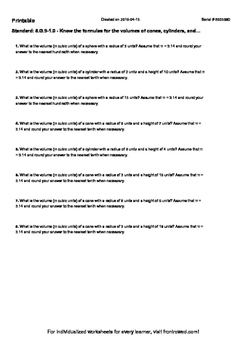 Worksheet for 8.G.9-1.0 - Know the formulas for the volumes of cones, cylinders,