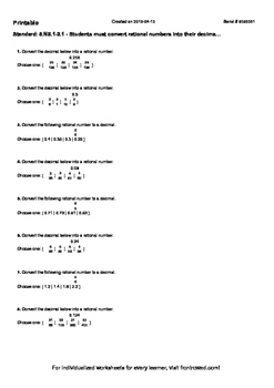 Worksheet for 8.NS.1-2.1 - Students must convert rational numbers into their dec