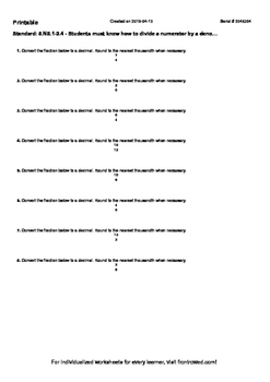 Worksheet for 8.NS.1-2.4 - Students must know how to divid