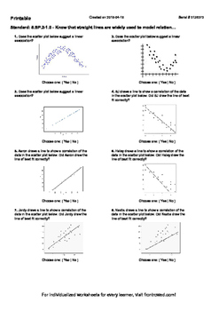 Worksheet for 8.SP.2-1.0 - Know that straight lines are widely used to model rel