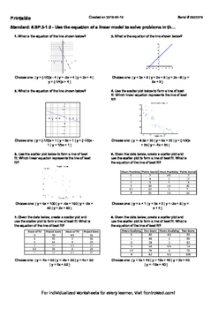 Worksheet for 8.SP.3-1.0 - Use the equation of a linear model to solve problems