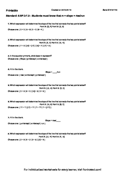 Worksheet for 8.SP.3-1.3 - Students must know that m = slo