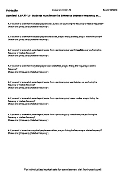 Worksheet for 8.SP.4-1.2 - Students must know the difference between frequency a