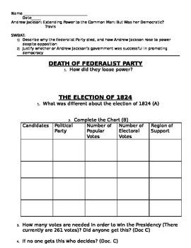Worksheet for Andrew Jackson Extending Power to the Common