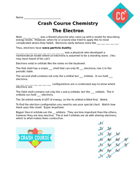 "Worksheet for Crash Course Chemistry ""Electrons"""
