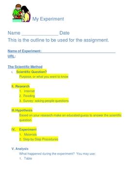 Worksheet for Elementary Experiment