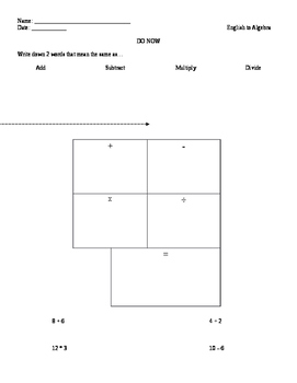 Worksheet for English to Algebra Lesson Plan