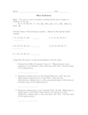Worksheet for Finding the Mean
