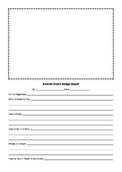 Worksheet for Girl Scout Brownies Snack Badge
