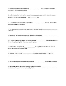 Worksheet for How the Earth Was Made-Tsunami