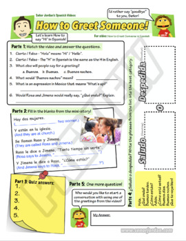 Worksheet for How to Greet someone in Spanish! (FREEBIE)