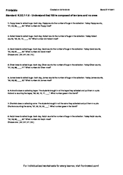 Worksheet for K.CC.1-1.5 - Understand that 100 is composed