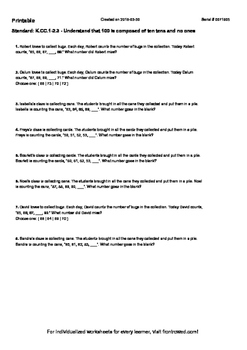 Worksheet for K.CC.1-2.3 - Understand that 100 is composed of ten tens and no on