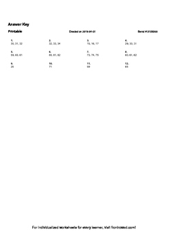 Worksheet for K.CC.2-1.2 - Count to 100 starting at a number other than 1
